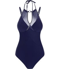 mesh overlay sparkly push up one-piece swimsuit