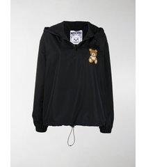 moschino teddy bear patch drawstring hoodie