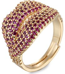 luxe goldtone & hot pink crystal adjustable ring
