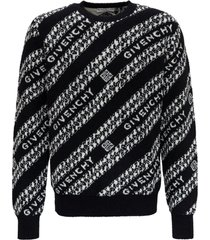 givenchy jacquard knit jumper with logo and chain pattern