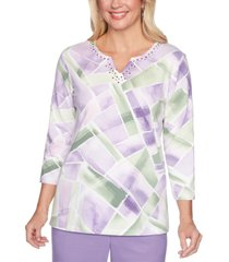 alfred dunner loire valley studded geo-print top