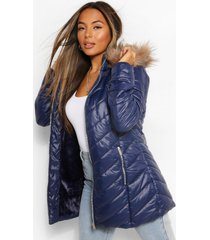 petite faux fur trimmed puffer coat, navy