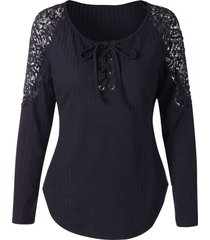 long sleeve lace insert knit tee