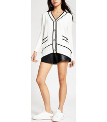 river island womens cream ribbed cardigan