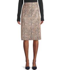 brave + true women's snakeskin-print knee-length skirt - brown cobra print - size m