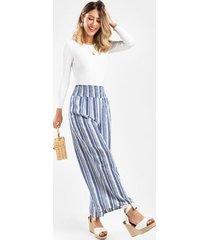 alice smocked stripe pants - navy