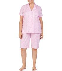 plus size women's lauren ralph lauren bermuda pajamas, size 3x - pink