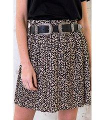 cheetah plisse rok beige