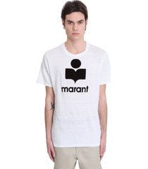 isabel marant karman t-shirt in white linen