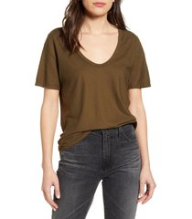 women's ag henson deep scoop cotton t-shirt, size x-small - green
