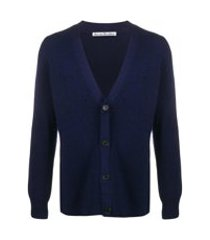 acne studios cardigan de tricô canelado - azul