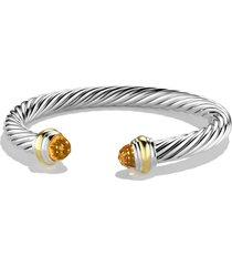 david yurman cable classics bracelet with semiprecious stones & 14k gold, 7mm, size medium in citrine at nordstrom
