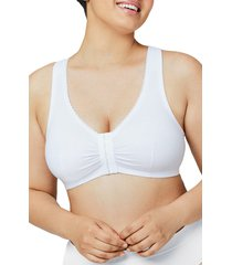 plus size women's glamorise complete comfort off duty front-close t-back bra, size 42dd-f - white