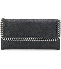 stella mccartney black and silver continental falabella wallet
