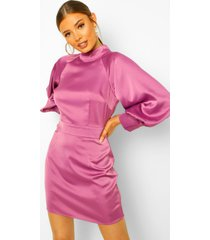 satijnen mini jurk met hoge kraag en ballonmouwen, purple