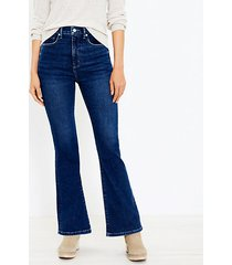 loft flare jeans in super dark indigo wash