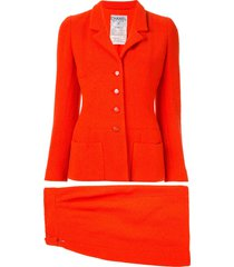 chanel pre-owned 1995 setup skirt suit - red