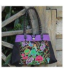 cotton shoulder bag, 'mandarin season in purple' (thailand)