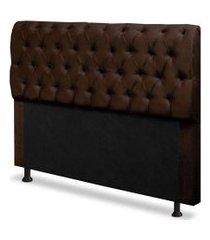 cabeceira capitonê solteiro 0,90cm para cama box paris suede marrom - ds móveis