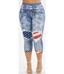 american flag 3d printed skinny capri plus size jeggings