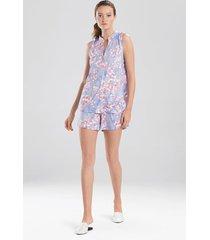 cherry blossom short pajamas, women's, blue, size xs, n natori