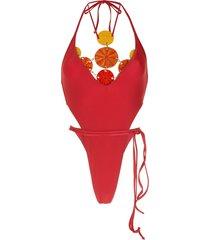 amir slama high-leg briefs swimsuit - red