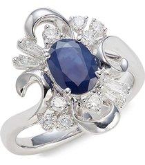 effy women's 14k white gold, sapphire & diamond cocktail ring - size 7