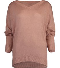 powder pink paillette v-neck pullover sweater