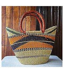 raffia basket tote bag, 'bawku pride' (ghana)