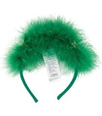 dolce & gabbana feather and flower headband - green