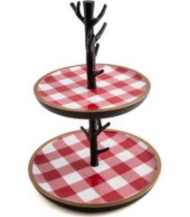 closeout! thirstystone 2-tier dessert stand with red checker plaid