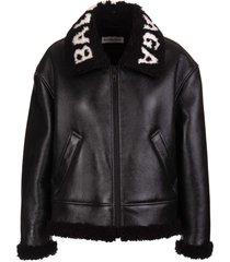 balenciaga woman black cocoon aviator jacket