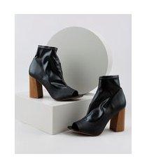 bota open boot feminina cano curto salto alto em madeira preta
