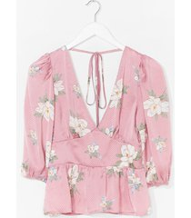 womens work the bloom plunging tie back blouse - pink