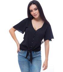 lalita blusa silueta amplia recta con amarrado en frente boton tipo perla
