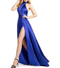 mac duggal women's halter wrap gown - burgundy - size 8