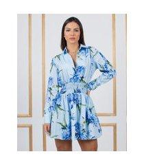 vestido miss misses rodado com estampa floral azul