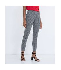 calça legging com elástico no cós estampa pied-de-poule   cortelle   preto   p