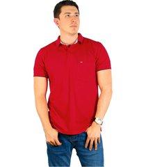 camiseta polo hamer, basica con bolsillo, para hombre color rojo