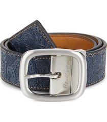 robert graham men's hartley embossed leather belt - black grey - size 42