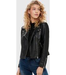 chaqueta only biker negro - calce ajustado