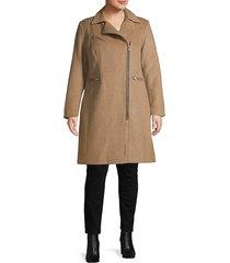 avec les filles women's plus wool-blend moto coat - wheat - size 2x (18-20)
