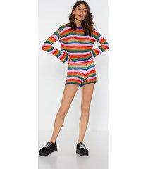 womens be bright back crochet shorts - blue
