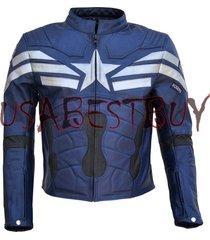 handmade chris evan captain america costume pure leather biker jacket paded blue