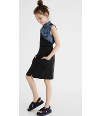 bimaterial shirt dress - black - 13/14