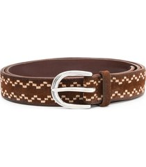 orciani embroidered pattern belt - brown