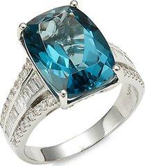 14k white gold, diamond & london blue topaz cocktail ring
