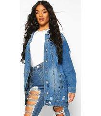 longline distressed jean jacket, blue