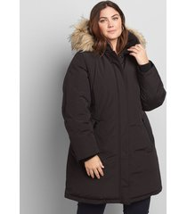 lane bryant women's faux-fur trim hooded parka coat 10/12 black