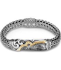 'classic chain' 18k gold silver damascus steel bracelet